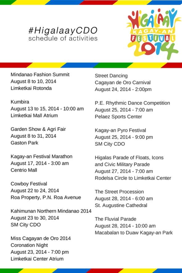 #higalaayCDO festival schedule of 2014