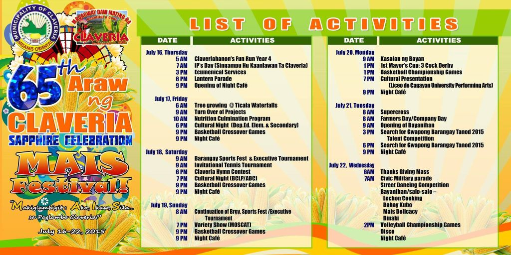 Araw ng Claveria 2015 List of Activities